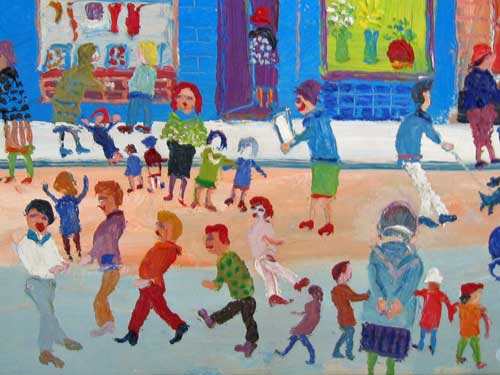 fred yates northern street scene oil on canvas